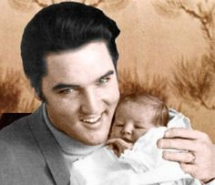 Proud father Elvis Presley of daughter Lisa Marie born February 1, 1968  Memphis, Tennessee