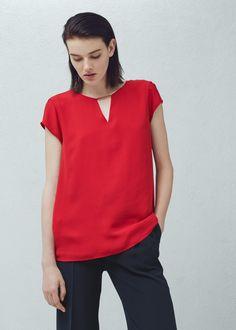 Top pormenor metálico - Camisas de Mulher | MANGO Mango France, Blouse, Metal, V Neck, Fashion, Woman, Shirts, Moda, Fashion Styles
