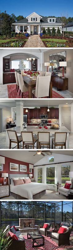 The Bartram by David Weekley Homes in Crossing at Twenty Mile is a 4 or 5 bedroom floorplan that features a Lanai, an open ktichen and family room layout, and a beautiful front porch. Custom home options include a super shower in the owners bathroom, an extended Lanai, or a guest suite.