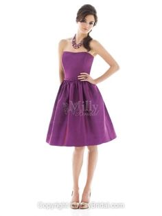 A-line Strapless Purple Taffeta Belt Knee-length Bridesmaid Dress at Millybridal.com