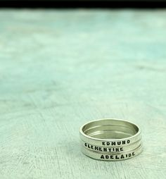 Mothers Rings, personalized ring with your child's name in sterling silver, stamped silver ring by Kathryn Riechert (Tiny Text) by KathrynRiechert on Etsy https://www.etsy.com/listing/128673742/mothers-rings-personalized-ring-with