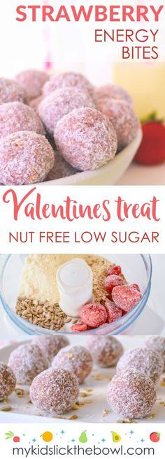 Strawberry Energy Bites Healthy Low Sugar Valentines Treat Perfect Valentines Kid Food Idea