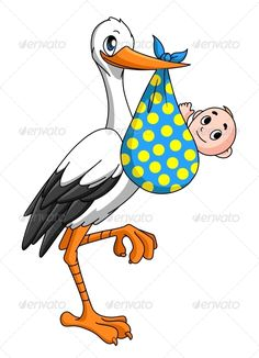Buy Stork with Newborn Baby by VectorTradition on GraphicRiver. Stork with newborn baby for childbirth concept. Editable and JPEG (can edit in any vector and graphic editor) fi. Baby Stork, Baby Looney Tunes, Baby Applique, Belly Painting, Wedding Labels, Christmas Embroidery, Art Design, Design Elements, Drawing For Kids