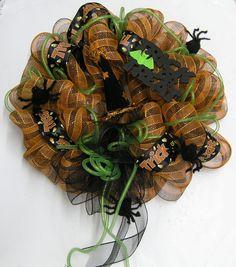 Halloween Geo Mesh Wreath