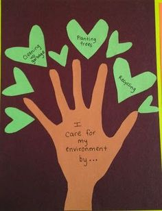 Created this project with my colleagues - Have students write ways they care for the environment on leaves that surround their handprint!