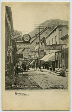 Brewery Gulch. Bisbee, Arizona :: Territorial and Early Statehood Arizona Postcards
