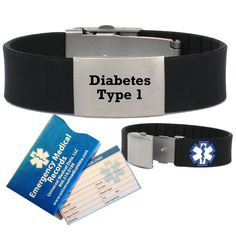 """Pre-engraved \""""Diabetes Type 1\"""" Medical Alert Identification Bracelet in Black Silicone. Choose from Diabetes, Coumadin, Blood Thinners, Seizures, Asthma, Pacemaker, Allergy and many more... >>> You can get more details by clicking on the image."""