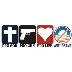 Pro God Pro Guns Pro Life Anti Obama Bumper Sticker - rugged-life.com  [just got a chuckle outta this bumper sticker]