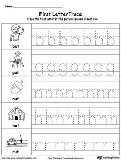 Lowercase Letter Tracing: UT Words: Practice writing by tracing the lowercase letters of the beginning sound of the –UT word family.