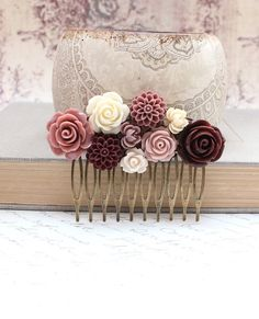 Flower Collage Comb Chocolate Brown Cream Dusty Pink Rose Floral Hair Accessories Shabby Chic Country Wedding Bridal Leaf Brass Metal Comb via Etsy