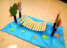 Here's a bridge made with craft sticks by participants of a children's engineering class.