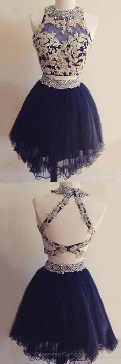 Cute Homecoming Dress, Short Prom Dresses, Beading Party Gowns, Open Back Cocktail dress, Two Piece Prom Dresses
