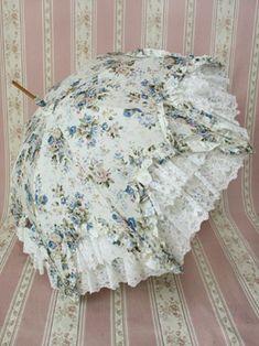 Blue chintz parasol