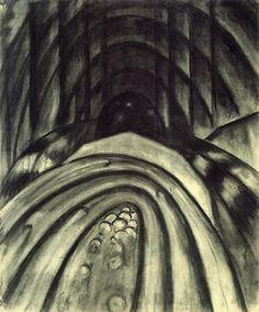 Arthur Dove Creek # 4 Drawing charcoal 30x24 Wall Art Canvas Print Unframed