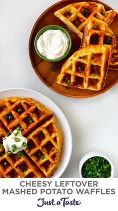 Wondering what to do with your leftover mashed potatoes? Transform them into Cheesy Leftover Mashed Potato Waffles! These waffles are fantastically fluffy yet simultaneously crunchy. justataste.com #recipes #thanksgivingleftoversrecipes #leftovermashedpotatoes #mashedpotatowaffles #thanksgivingrecipes #wafflesrecipe #justatasterecipes Mashed Potato Pancakes, Savory Waffles, Cheesy Mashed Potatoes, Leftover Mashed Potatoes, Mashed Potato Recipes, Potato Puffs, Ricotta Pancakes, Fluffy Pancakes, Baked Potato