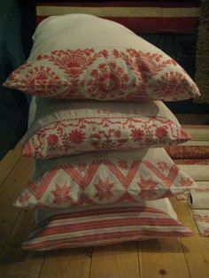 embroidered details on pillows