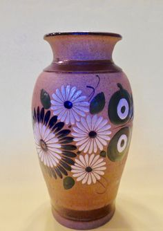 FLORAL TONALA POTTERY Vase Signed Tacat Mexico Heron Green Blue White Brown Enamel Paint Sand Texture Hand Painted Handmade Vintage Mexican Green And Brown, Blue Green, Blue And White, Enamel Paint, Small Paintings, Pottery Vase, Heron, Floral Design, Mexico