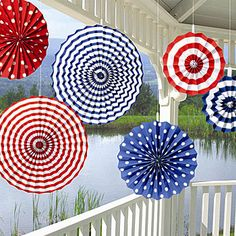 These Patriotic Paper Fans will be perfect for any Patriotic event. Each package includes six fans which include two of each size - 8 inch, 12 inch and 16 inch in assorted colors. $10.99