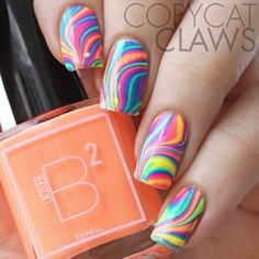 Water Marble Nails with B Squared Lacquer's EDM Collex