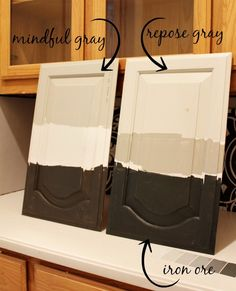 SW Mindful Gray for the Kitchen cabinets, and SW Iron Ore for the Butler's Pantry cabinets