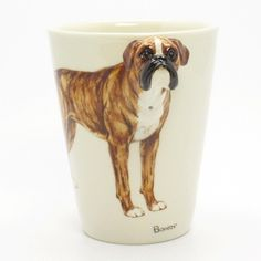 www.muddymood.com Original hand sculpt and hand paint   Boxer Uncrop Ears Dog Ceramic Mug Dog Lover.