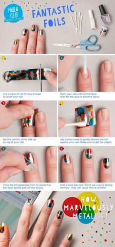 ModCloth colourful foil nail art tutorial