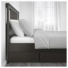 Renew your home - IKEA - HEMNES, Bed frame, dark gray stained, Adjustable bed sides allow you to use mattresses of different thicknesses. Made of solid wood, which is a durable and warm natural material. Slatted bed base and mattress sold separately. Under Bed Storage, Storage Boxes, Storage Spaces, Extra Storage, Hemnes Bed, Steel Bed Frame, Ikea Family, Bed Slats, Grey Stain