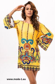 Schulterfreies Sommerkleid in Gelb