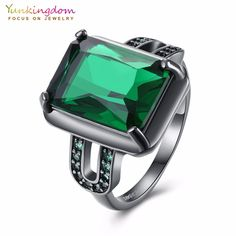Yunkingdom engagement wedding rings for women green CZ rhinestone square geometry ring K5175 #Affiliate