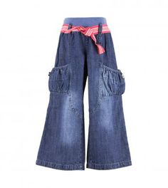 100% cotton woven denim pull-on pants with ribbed knit elasticized waistband, belt loops, stripe print fabric tie belt, pieced front legs and button trimmed side gathered pockets on thighs.  Length finishes at ankle.  Machine washable.  Imported.