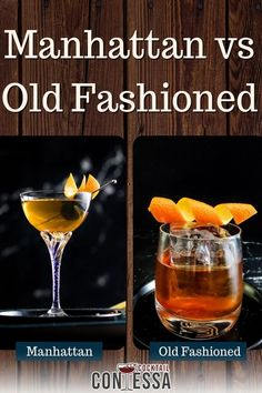 I'm often asked the difference between a Manhattan and an Old Fashioned. The two classic whiskey cocktails seem widely different to me, but I've tasted hundreds of them. To someone new to the whiskey or cocktail space, Manhattan vs Old Fashioned seems mysterious, because there really are a lot of commonalities between them. Both are storied cocktails that keep whiskey front and center in the cocktails – whether that's rye or bourbon.   @cocktailcontessa #manhattan #oldfashioned #craftcocktails Cocktail Garnish, Cocktail Glass, Cocktail Drinks, Manhattan Recipe, Whiskey Smash, Manhattan Cocktail, Recipe Maker, Bourbon Cocktails, Cocktail Ingredients