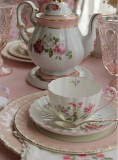 Pink floral dishes