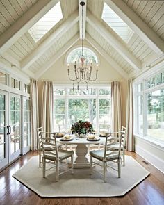 Carolina Design Associates - dining rooms - sunroom, sun room, wall to wall windows, floor length drapes, floor length draperies, red green ...