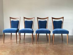 Set of Six Walnut Chairs by Melchiorre Bega, in Blue Mohair, Italy, circa 1960 | From a unique collection of antique and modern dining room chairs at https://www.1stdibs.com/furniture/seating/dining-room-chairs/