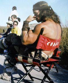 Arnold Schwarzenegger filming Conan