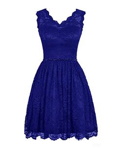 LOVEBEAUTY Women's Elegant Lace V-neck Short Prom Dress Bridesmaid Dresses Royal Blue US 22. Fabric: Outside lace&Inside satin. V neck. Allover lace design outside. Knee Length. Please refer to our size chart for detailed measurements information:).