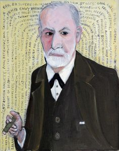 """Bette Blank """"Sigmund Freud"""" 2009, oil on linen, 30"""" x 24."""" Here the cigar smoking Sigmund Freud is surrounded by the titles of his books and theories...."""