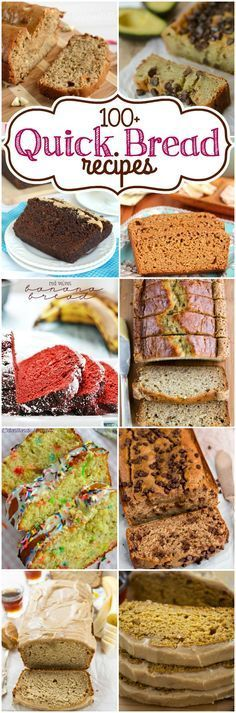 Over 100 Quick Bread Recipes - Come and find your favorite bread in this list of over 100 quick bread recipes! Over 100 Quick Bread Recipes - Come and find your favorite bread in this list of over 100 quick bread recipes! Quick Bread Recipes, Bread Machine Recipes, Baking Recipes, Just Desserts, Dessert Recipes, Gateaux Cake, Dessert Bread, Sweet Bread, Bread Baking