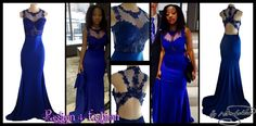 Royal blue illusion bodice, soft mermaid matric farewell dress, with back lace design.