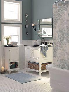 Benjamin Moore Clinton Grey WHISP | Gray Wisp in this bathroom is part of Benjamin Moore's Designer ...