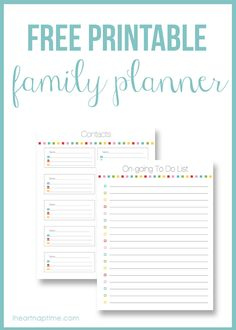 Free printable family planner I Heart Nap Time | I Heart Nap Time - Easy recipes, DIY crafts, Homemaking