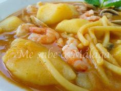 Me sabe a Málaga: Cazuela malagueña de fideos almejas y gambas Güveç yemekleri Kitchen Recipes, Soup Recipes, Cooking Recipes, Healthy Recipes, Malaga, Colombian Cuisine, Mexican Food Recipes, Ethnic Recipes, Cooking