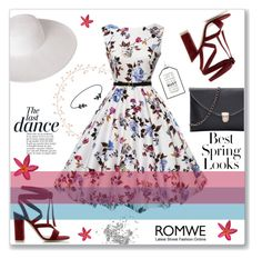 """""""ROMWE 3"""" by abecic ❤ liked on Polyvore featuring Dorfman Pacific, Anja, Gianvito Rossi, H&M, romwe and springflorals"""