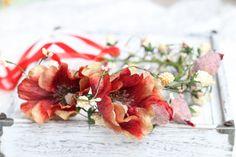tie back floral crown,poppy floral crown,tie back
