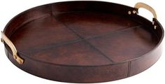 Tray CYAN DESIGN BRYANT Brown Brown/Beige/Tan Leather Wood New CY-2566