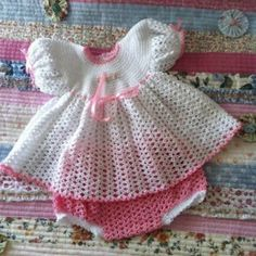 Dress and panties set in crochet cotton made to fit 0-3 months or 20 inch reborn doll $30