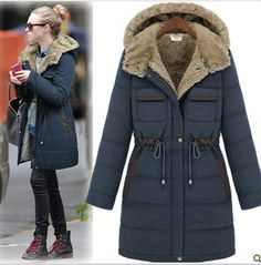 2013 Winter Fashion Thick Women Army Green Military Long Wadded