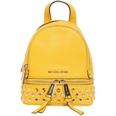 Rhea Mini Studded Backpack (14.475 RUB) ❤ liked on Polyvore featuring bags, backpacks, giallo, womenbagsbackpacks, leather bags, logo backpack, mini bag, day pack backpack and genuine leather backpack