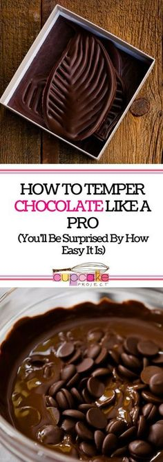 Looking for tutorials on how to do tempering chocolates? Here's how to do it like a pro! Use it for decorations and designs of your favorite desserts! For more simple baking desserts recipes and homemade sweet treats, check us out at #cupcakeproject. #des
