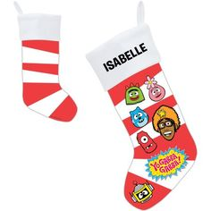 Personalized Yo Gabba Gabba! Candy Cane Faces Christmas Stocking, Multicolor